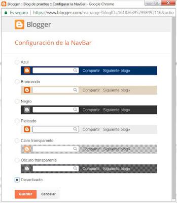 Desactivar barra de Blogger