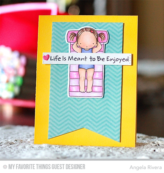 Handmade card from Angela Rivera featuring Pure Innocence Fun in the Sun stamp set and Die-namics, Jumbo Fishtail Banner Day STAX, and Blueprints 29 Die-namics #mftstamps