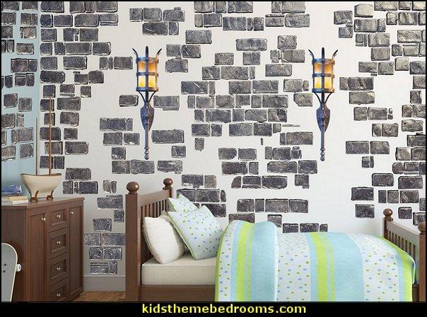 Grey Castle Brick Wall Decals