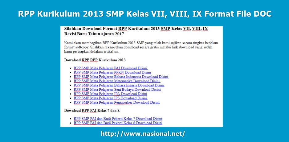 RPP Kurikulum 2013 SMP Kelas VII, VIII, IX Format File DOC