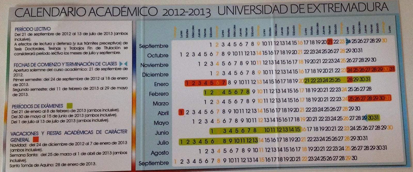 Calendario Uex.Escuela Politecnica De Caceres Uex Informacion Util Para El Curso