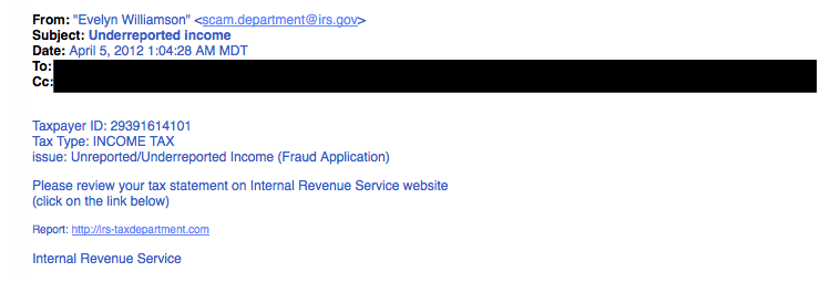 IRS phishing example