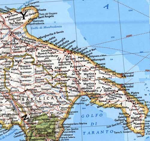 Regione Puglia Cartina Politica.Mappa Della Citta Di Provincia Regionale Italia Mappa Puglia Politico