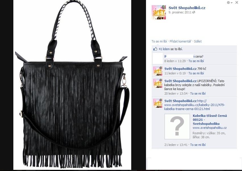 5848c4319d A nakonec kabelka s třásněmi. Podle Světa shopaholiků za 799 korun.
