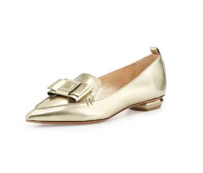 Nicholas Kirkwood Gold Metallic Pointed Toe Loafer