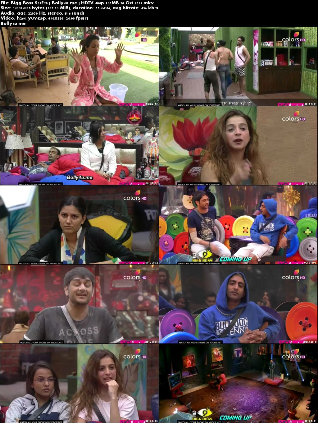 Bigg Boss S11E20 HDTV 480p 140MB 20 Oct 2017 Download