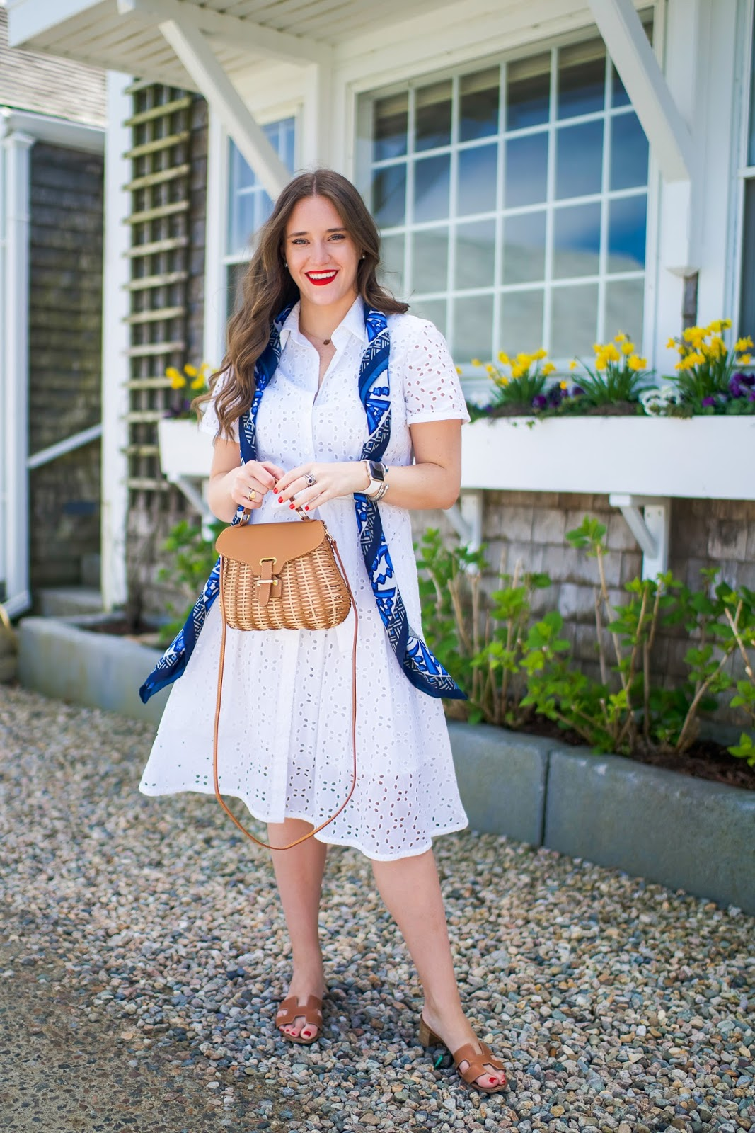 White Shirtdress styled by popular New York fashion blogger, Covering the Bases