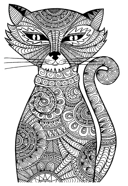 Cat Free Coloring Pages For Adults