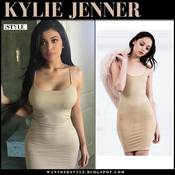 Kylie Jenner in beige mini dress sorella what she wore