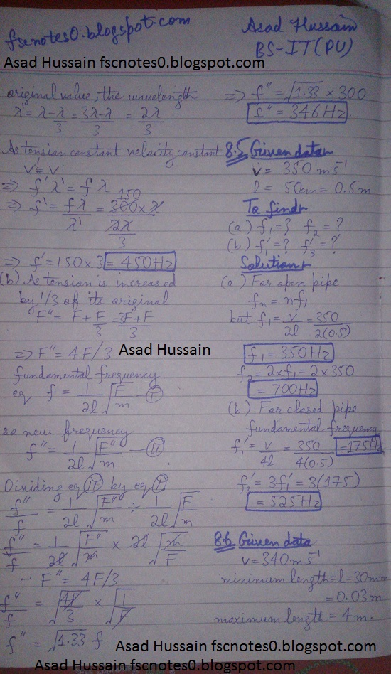F.Sc ICS Notes: Physics XI: Chapter 8 Waves Numerical Problems Asad Hussain 1