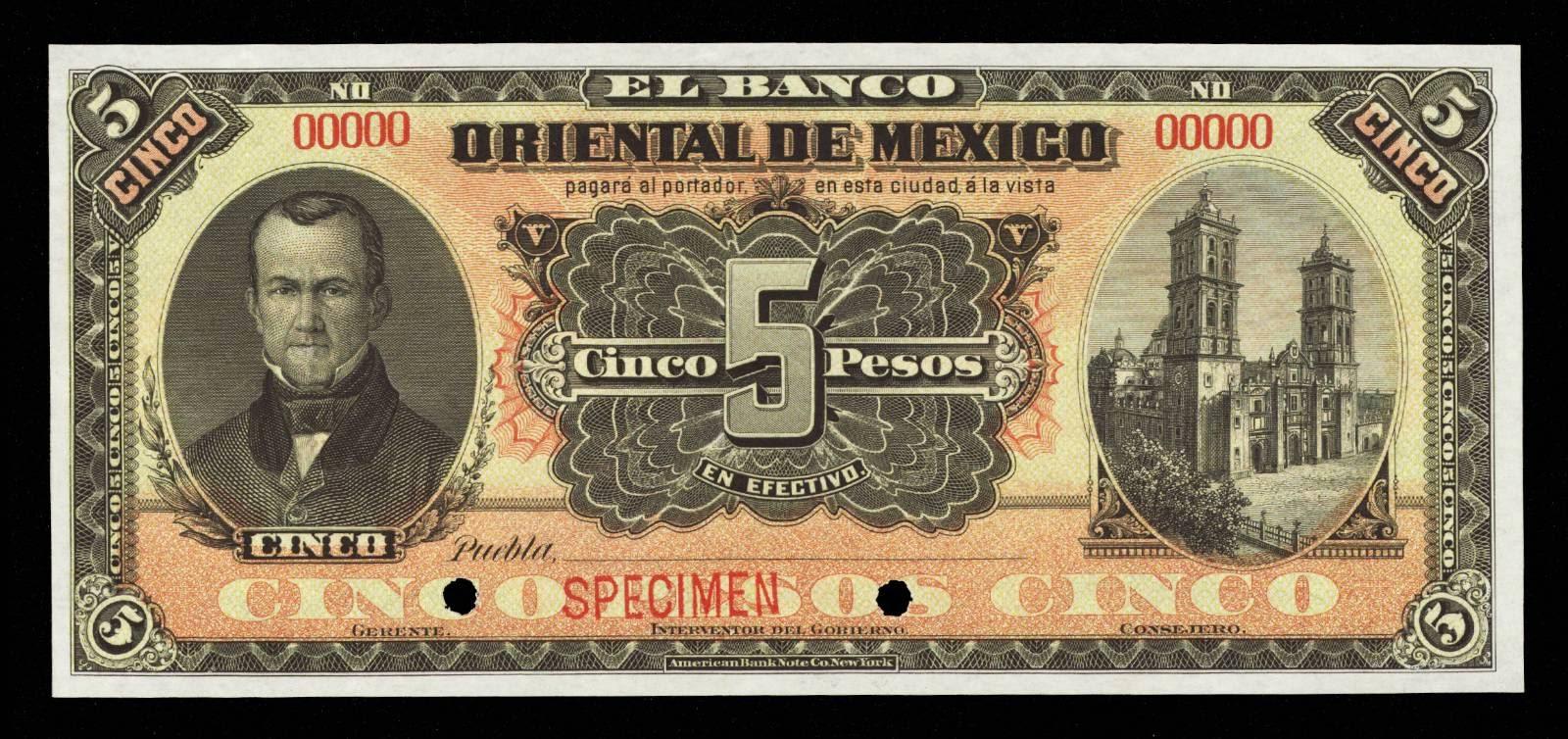 Mexico banknotes 5 Pesos note Banco Oriental De Mexico, Esteban de Antunano, Cathedral of Puebla