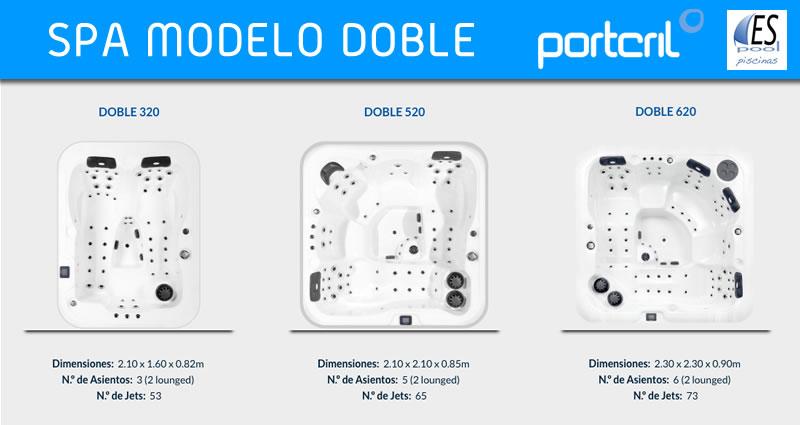 Spa modelo Double o Doble de Portcril de venta en Espool Piscinas, tienda oficial de Spas Portcril