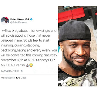 Peter Okoye brags about new His single