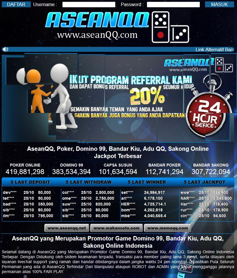 ASEANQQ.NET POKER, DOMINO 99, BANDAR KIU, ADU QQ, SAKONG