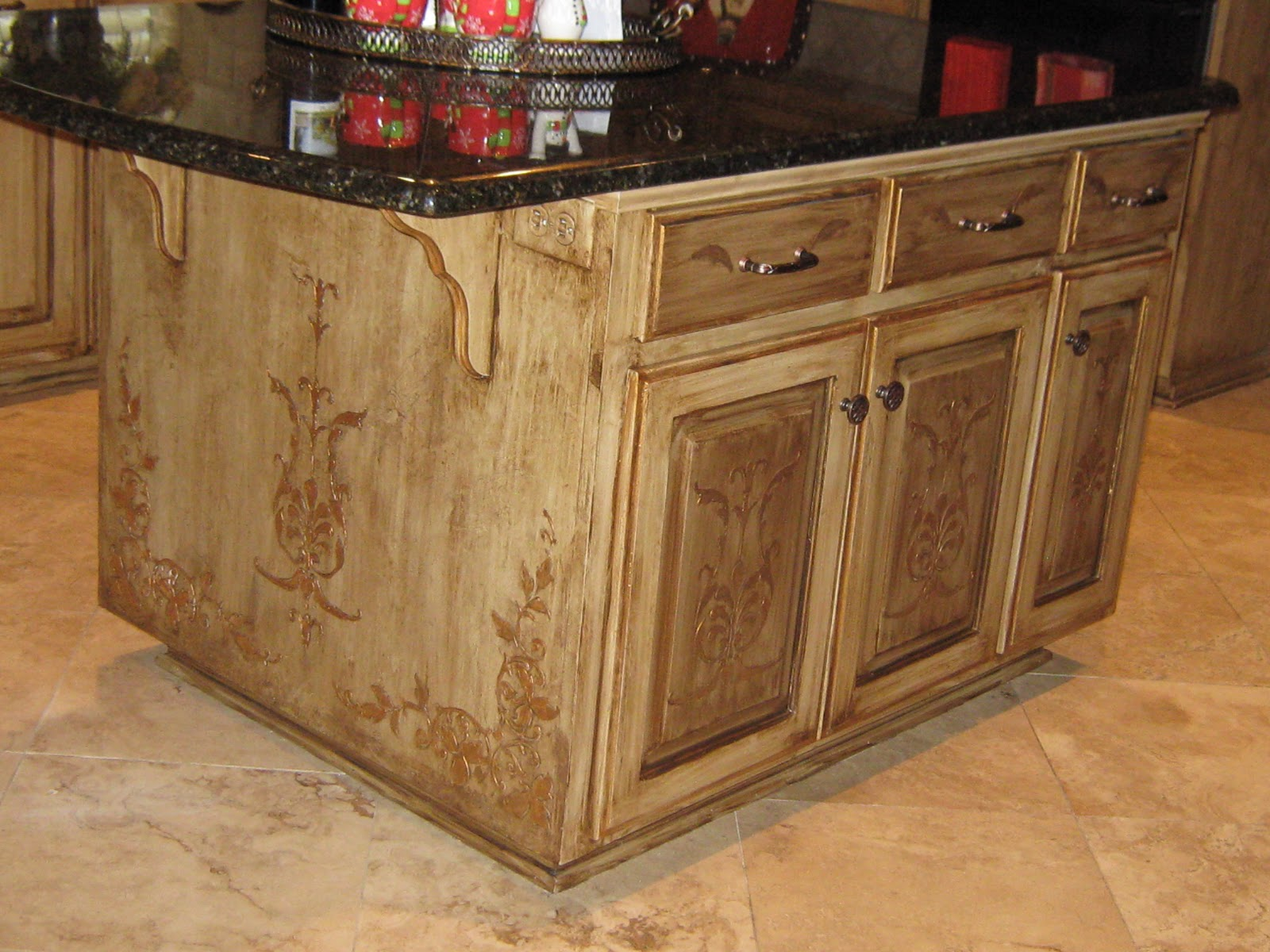 painted kitchen islands island home depot lynda bergman decorative artisan re painting susan 39s