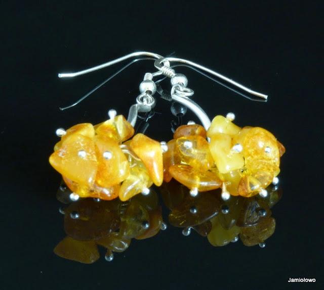 bursztynowe gronka delikatne srebrne kolczyki