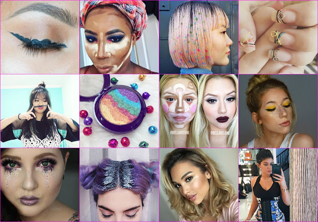 Instagram, 2016 beauty trends, baking, space buns, glitter roots, hair stenciling, clown contouring, unicorn highlighters, Korean manicure, 2016 hot manicure, Kim Kardashina,waist trainers, weird beauty trends