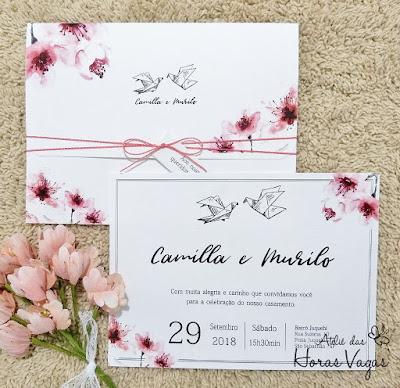 convite de casamento artesanal personalizado floral aquarelado rosa pink convite flora de cerejeira sakura cherry oriental japonês convite casal de passarinhos convite origami convite japão convite delicado florido