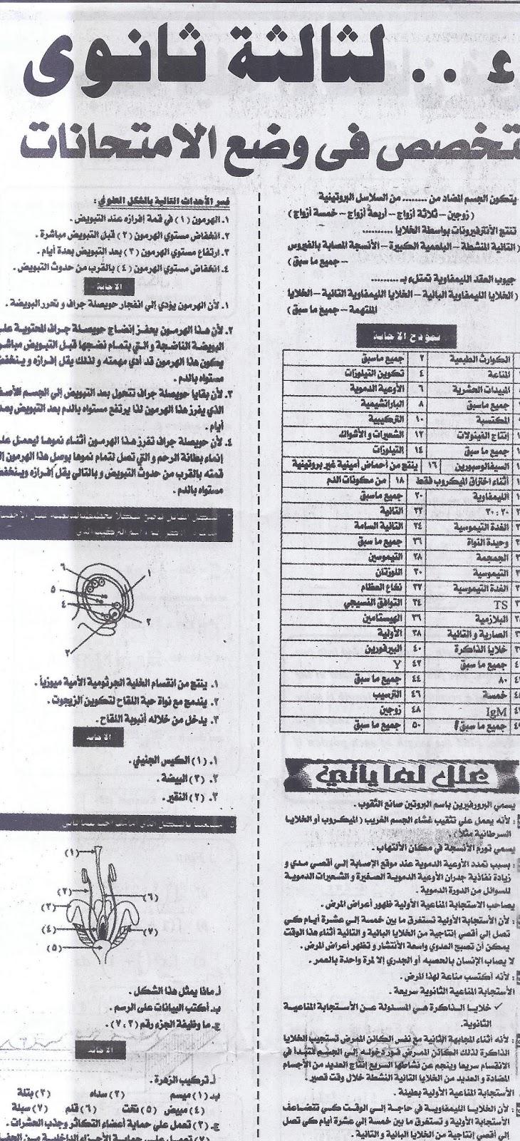 اسئلة احياء مجابة ومتوقعة لامتحان ثانوية عامة 2016 ... خبراء ملحق الجمهورية 14