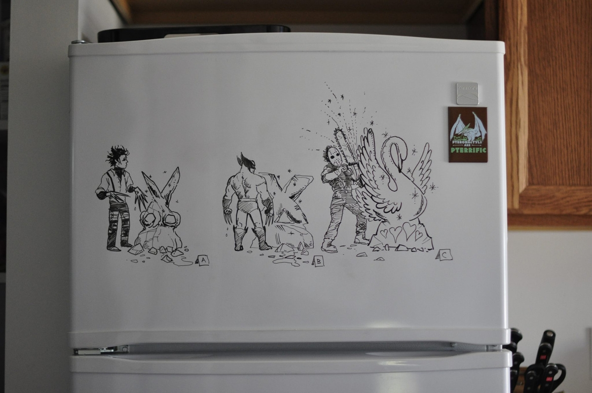 01-X-Men-Hugh-Jackman-Friday-the-13th-Johnny-Depp-Charlie-Layton-Freezer-Door-Drawings-and-Illustrations-www-designstack-co