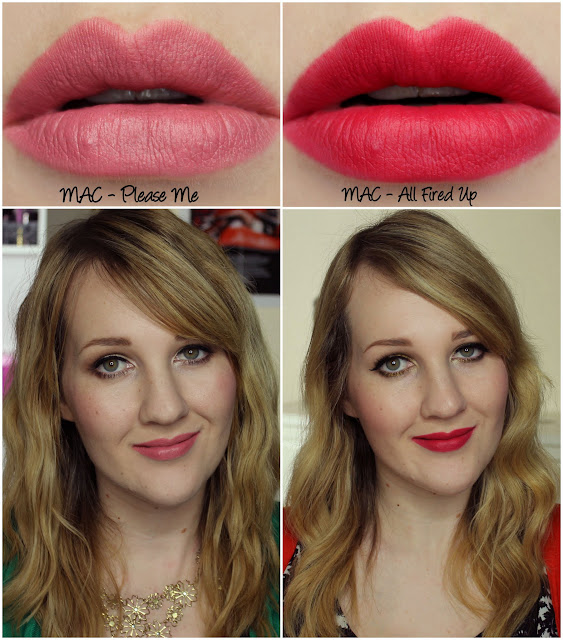 MAC Magic of the Night - Please Me and All Fired Up Lipstick Swatches & Review