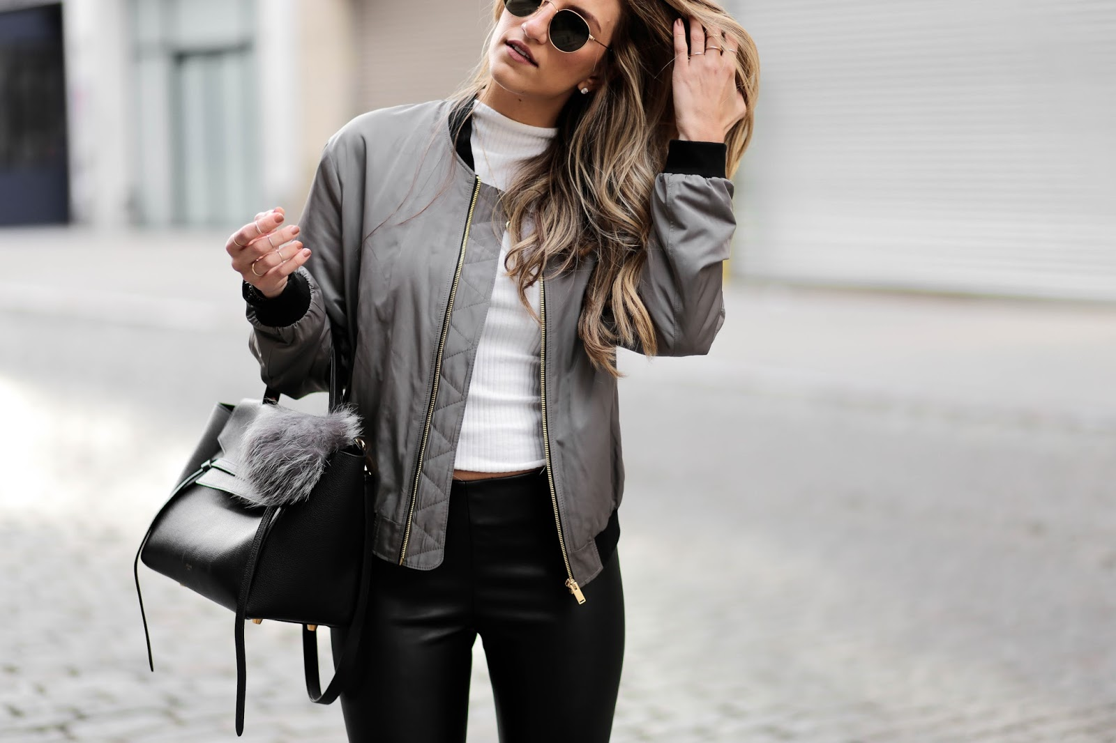 kendall gigi bomber jacket outfit