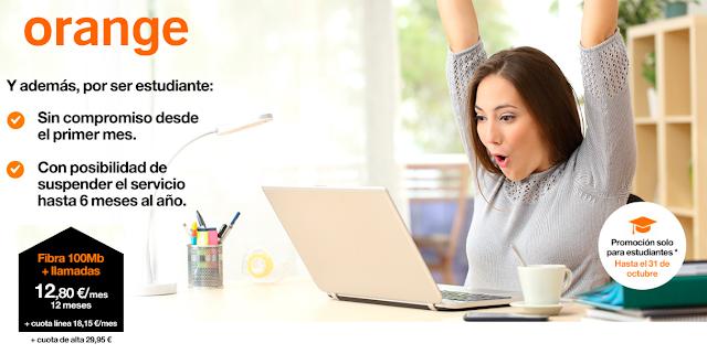 Orange fibra para estudiantes por 30,95 euros al mes
