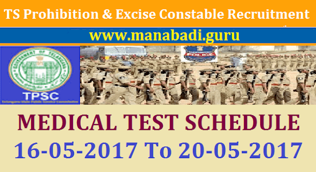 Recruitment, TSPSC, Prohibition and Excise Constable, Excise Department, TS Excise Constsble Posts, Medical Test Schedule,