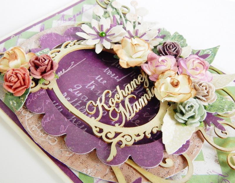 Kartka na Dzień Mamy z kwiatami i ramką