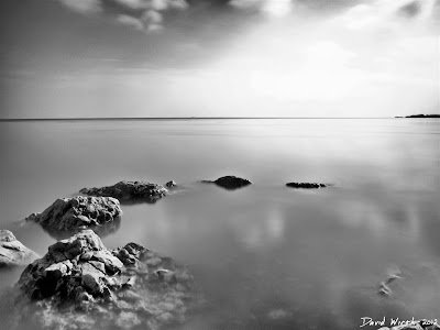 black and white ND Filter of lake water