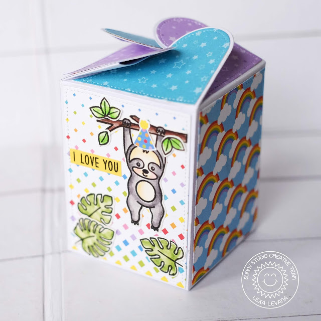 Sunny Studio Stamps: Surprise Party Paper Pack Wrap Around Box Dies Silly Sloths Fancy Frames Birthday Box Birthday Card by Lexa Levana and Rachel Alvarado