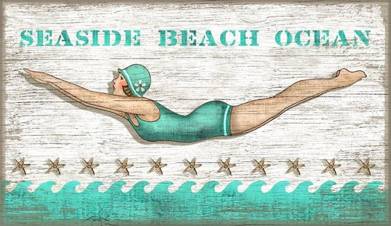 Vintage Beach Sign Dive Girl