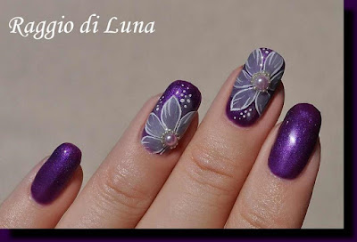 Raggio di luna nails uv gel manicure with free hand nail art uv gel manicure with free hand nail art milky white flower on purple prinsesfo Image collections