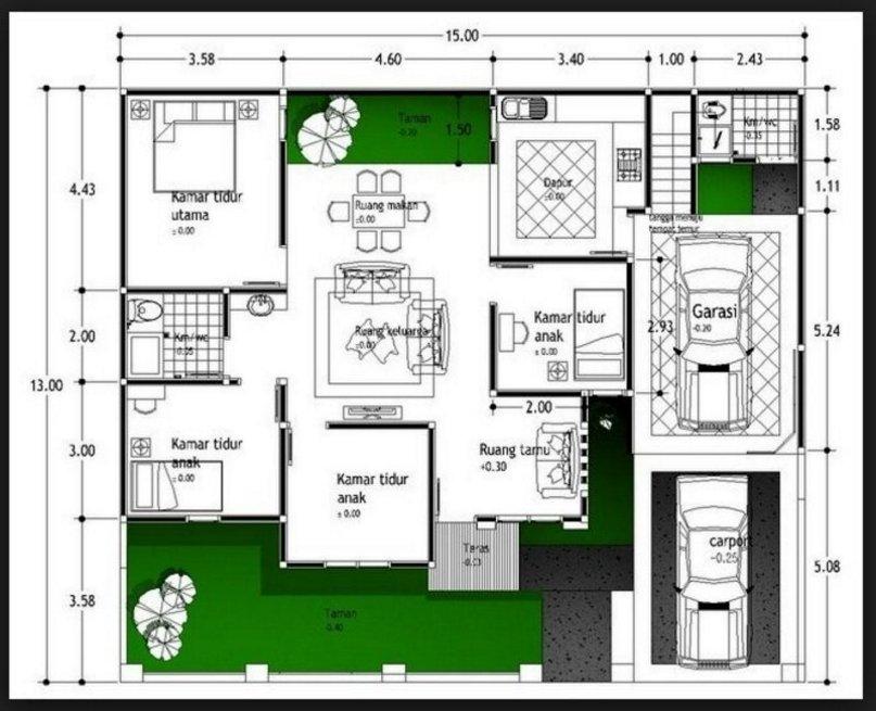 denah rumah 4 kamar 7x15 yang kreatif