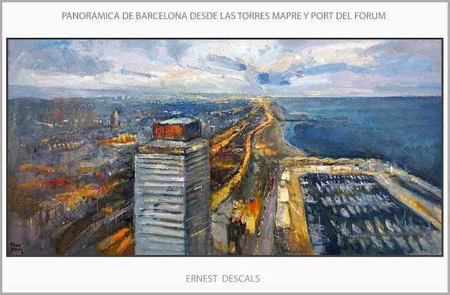 BARCELONA-PINTURA-CUADROS-PANORAMICAS-CATALUNYA-PAISAJES-PAISATGES-PORT-FORUM-TORRES MAPFRE-ATARDECER-ARTISTA-PINTOR-ERNEST DESCALS