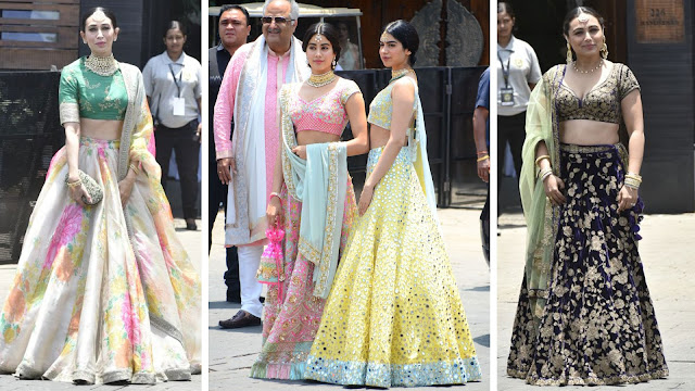 karishma kapoor, jhanvi and kushi kapoor and rani mukerji at sonam kapoor wedding in the morning