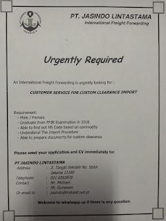 Lowongan Kerja: Customer Service Import PT. Jasindo Lintastama