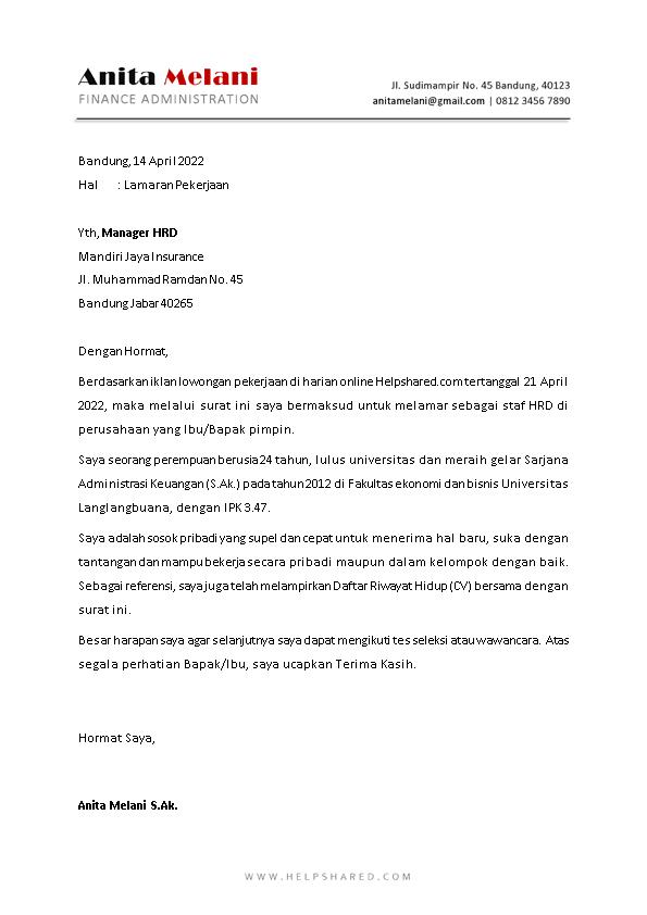 Contoh Surat Lamaran Kerja 1