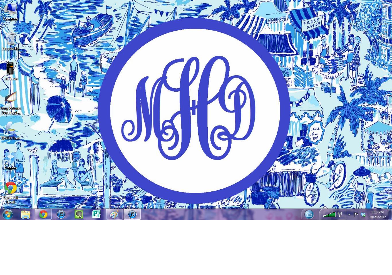 College Girl in Pearls: DIY Monogram Desktop Backgrounds! (Using Microsoft Paint)