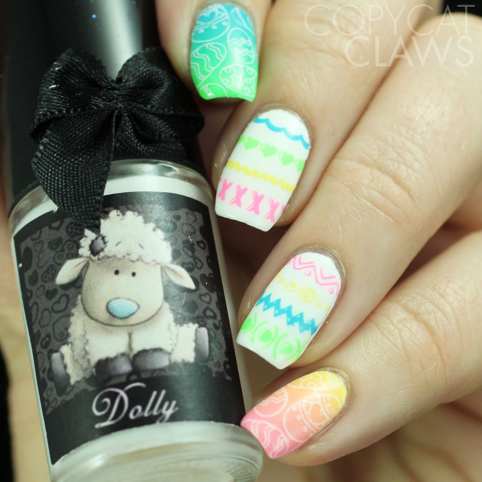Copycat claws uberchic beauty welcome spring stamping plate review for my second mani i wanted to try those do it yourself easter egg designs i used esmaltes da kelly dolly as a base and stamped a variety of the lines solutioingenieria Images