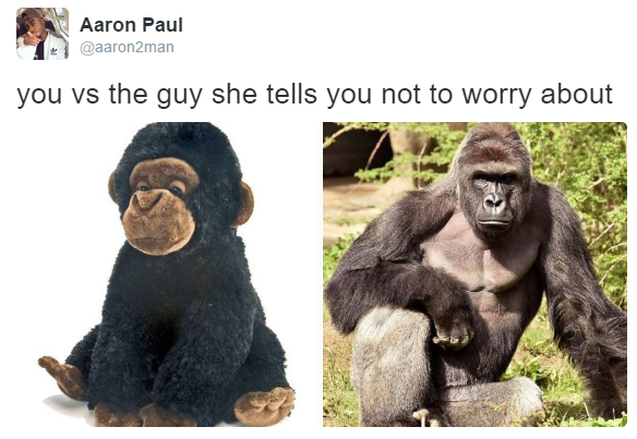 You versus the guy that she tells you not to worry about.