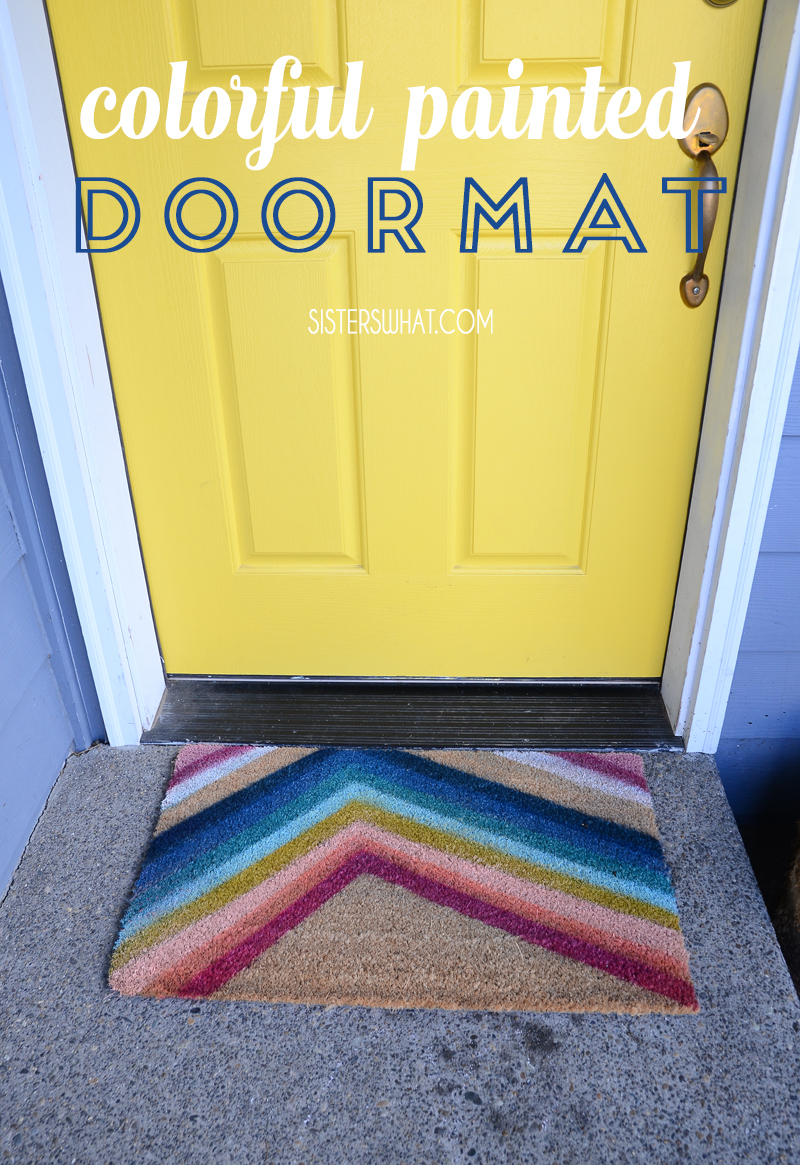 fun colorful painted door mat