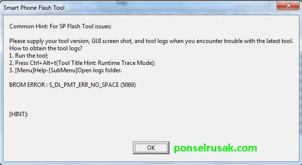 Some error messages when using the flashtool including s dl pmt err no space (5069)