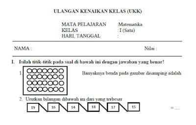 Soal UKK Matermatika Kelas 1 (UAS Semester 2)