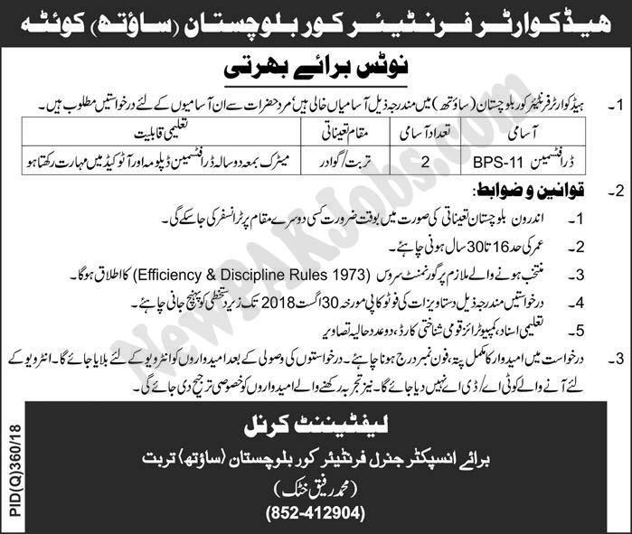 Draftsman Jobs in Headquarter Frontier Corps Balochistan