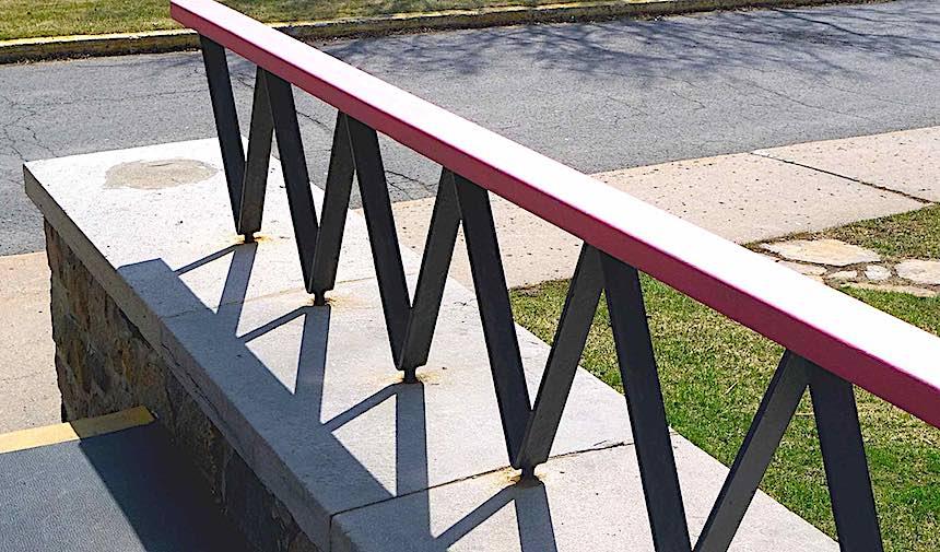 a mid-century hand rail, zigzag