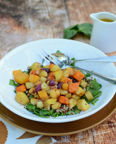 Warm Root Vegetable Salad with Horseradish Vinaigrette, another easy Salad Supper ♥ A Veggie Venture. Easily Made Vegan. Gluten Free. Whole30 Friendly.