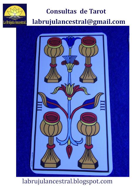 4 de Copas Tarot de Marsella