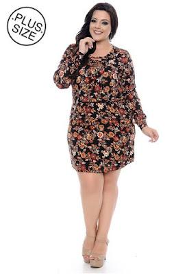Vestido Plus Size Preto Floral