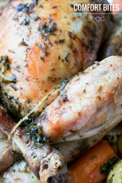 tarragon herb roasted chicken with root vegetables